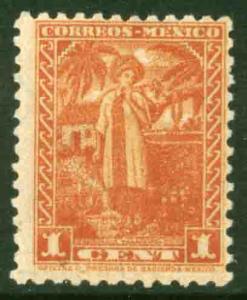 MEXICO 707, 1¢ YALALTECA NATIVE WOMAN 1934 DEFINITIVE SINGLE. UNUSED, NG  VF,