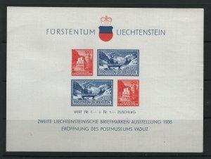 LIECHTENSTEIN B14 Souvenir Sheet, Hinged, 1936 Postal Museum issue