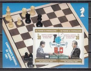 St.Thomas, Scott cat. 627 a-b. World Chess Championship s/sht with Red o/prints.