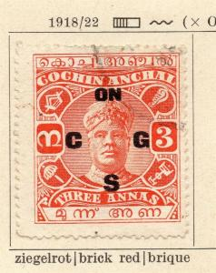 Cochin 1921 Early Issue Fine Used 3a. Optd 322455