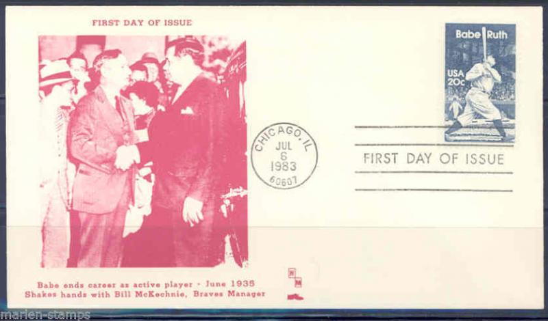 US BABE RUTH FIRST DAY COVER IV FIRST DAY COVER