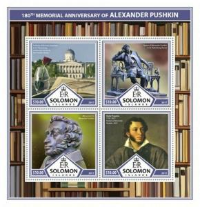 Solomon Islands - 2017 Alexander Pushkin - 4 Stamp Sheet - SLM17312a