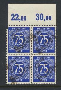 GERMANY - SOVIET ZONE  HARTHA BEZIRK 27  1948, 75pf BLOCK VF NH
