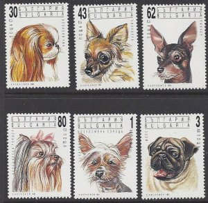 Bulgaria #3635-40a MHN set c/w ss, various dogs, issued 1991