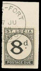 St. Lucia Scott J6 Gibbons D6 Used Stamp (1)