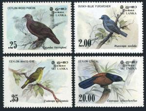 Sri Lanka 691-694,MNH.Mi 640-643. Birds 1983.Pigeon,White-eye,Flycatcher,Coucal.