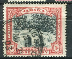JAMAICA; 1900 early Pictorial Falls issue used 1d. value Postmark