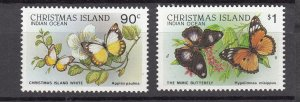 J28378, 1987-89 christmas island part of set better mnh #208-9 butterflies