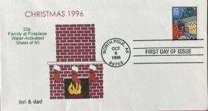 lori & dad 3108/11 Christmas 1996 Set of 4 Beautiful Covers North Pole Postmark
