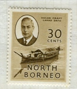 NORTH BORNEO; 1950 early GVI issue fine Mint hinged 30c. value