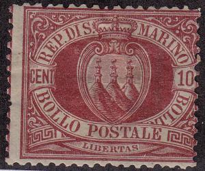 SAN MARINO MH Scott # 9 - spotty gum, remnant (1 Stamp) -6