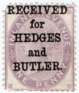 (I.B) QV Commercial Overprint : Hedges & Butler