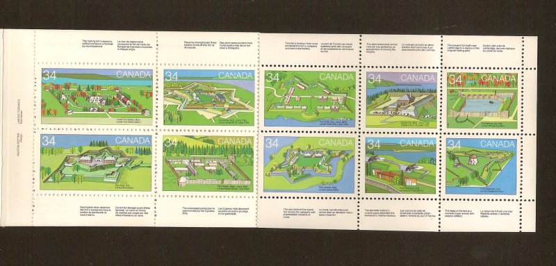 CANADIAN BOOLKLET ON 1985 FORTS STAMPS MNH LOT#41