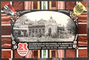 1909 Karlsbad Austria PS Picture Postcard Cover Philatelic Exhibition