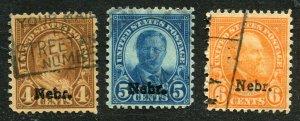 1929 issue #673, 674, 675 NEBR OVPTS ⭐⭐⭐⭐⭐⭐