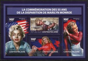 CENTRAL AFRICA  2017 55th MEMORIAL ANNIVERSARY MARILYN MONROE SHEET MINT  NH