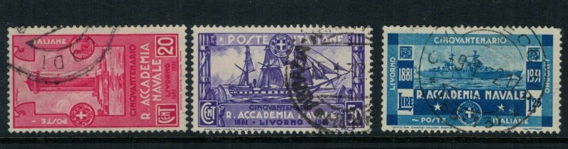 Italy #265-7 CV $8.35 commemorating the 50th Anniv, of the Royal Naval Academy
