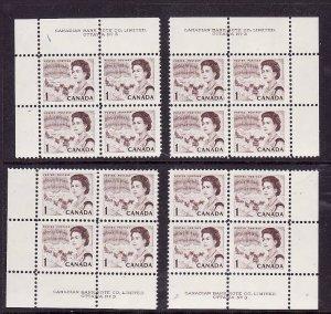 Canada-Sc#454-Unused NH 1c QEII Centennial-4 corner plate blocks #3-Dex gum-1967