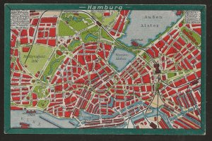Postcard. Early Street Map of Hamburg. Fully illustrated; in Color.