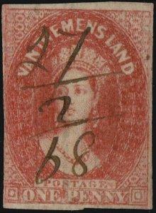 TASMANIA - 1868 SG28 1d dull vermillion Imperf. (Wmk numeral) - fiscally used