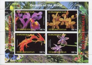 Turkmenistan MNH Orchids of the World 4v M/S Flowers Nature Stamps