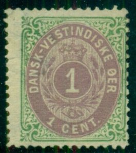 DANISH WEST INDIES #5 (5a) 1¢ bicolor, 1st Printing, og, hinged, Facit $305.00