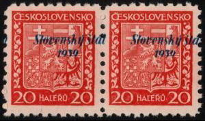 ✔️ SLOVAKIA 1939 - SHIFTED OVERPRINT PAIR - SIGNED - SC.4 MNH OG [SK004Y]