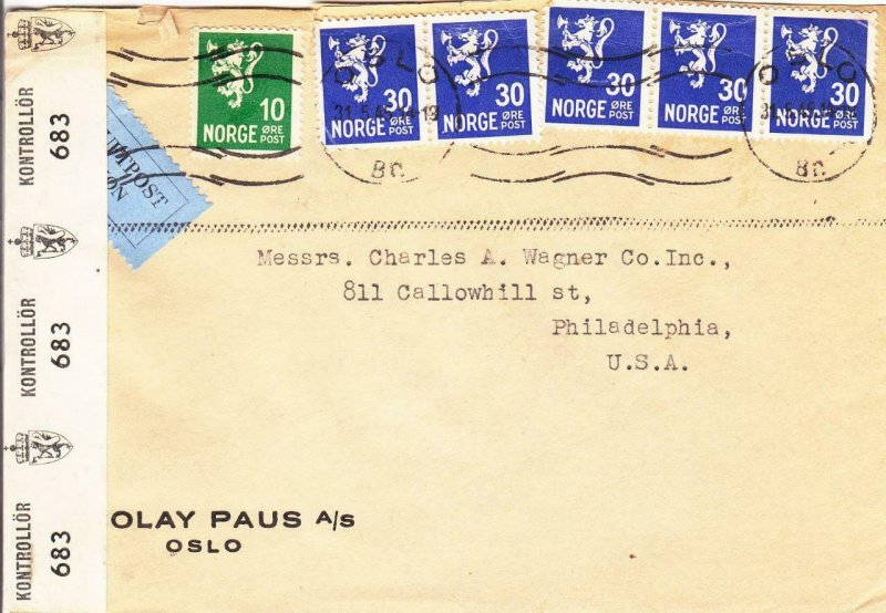 1945, Oslo, Norway to Philadelphia, PA, Airmail, See Remark (C3077)