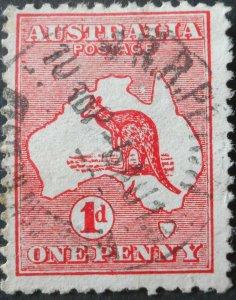 Australia 1913 One Penny Die I Kangaroo with MRR PERTH postmark