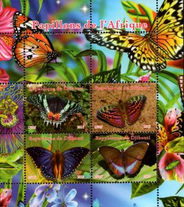 Djibouti 2015 Beautiful Butterfly 4v Mint Souvenir Sheet S/S. (#01)