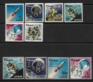 1966    AJMAN  -  SG.  88 / 98  -  SPACE ACHIEVEMENTS   -  MNH