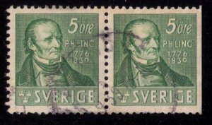 Sweden Sc 292/292a Used p.h.ling (Facit #318cb) Vert. Pair 1939 Very Fine