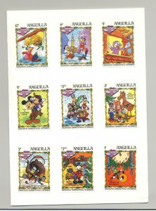 Anguilla #547-556 Disney, Christmas 9v & 1v S/S Imperf Proofs in 2 Folders