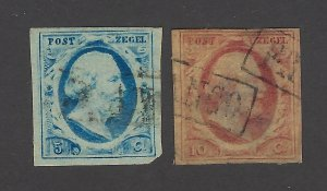 Netherlands Scott 1-2 Early Issues Used with thins