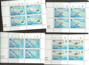 Tuvalu 118 - 121 - Internal Air Service Plate Blocks Of 4. MNH. OG. #02 TUVU118