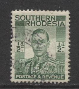 Southern Rhodesia- Scott 42 - KGVI - Definitive -1937 - FU- Single 1/2d Stamp