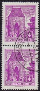Austria - 1960 - Scott #627 - used pair - Hainburg - LAMBACH pmk