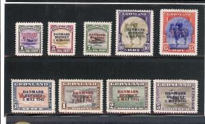 Greenland, 19-27, Overprinted Carmine/Blue Singles,**MNH/LH*