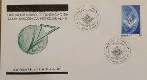 A) 1981, BRAZIL, FREEMASONRY, FIFTY-YEAR OF THE FOUNDATION OF THE MASONIC LODGE