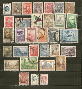 Argentina Collection of 32 Different Old Stamps Used
