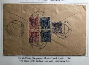 1946 Rangoon Burma Registered Airmail Cover To Kilasavakpatti India