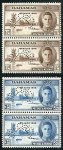 BAHAMAS SG176s/7s 1946 Victory Set in PAIRS Perf SPECIMEN (type D21) U/M