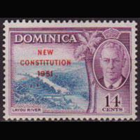 DOMINICA 1951 - Scott# 140 New Const.Opt. 14c NH no gum