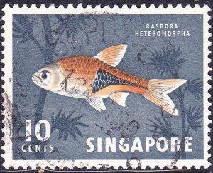 SINGAPORE 1967 QEII 10c Red-Orange & Black SG85 FU