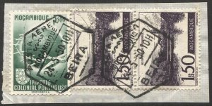 MOZAMBIQUE 1950 Sc 315, C27  VF Used on piece, BEIRA cancel