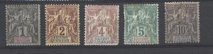 Anjouan 1892-1912 Scott 1-5 mh mng scv$31.00 less35%=$20.00 BIN
