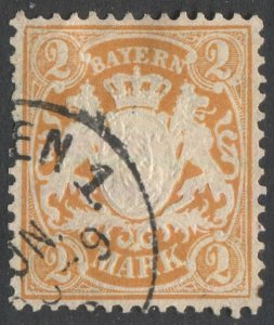 BAVARIA Germany 1901 Sc 55  3 Mk orange, Used, VF