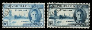 SEYCHELLES SG150/1 1946 VICTORY FINE USED