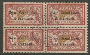 Syria 1923 SG 108 Block of 4 VFU (6cvg)