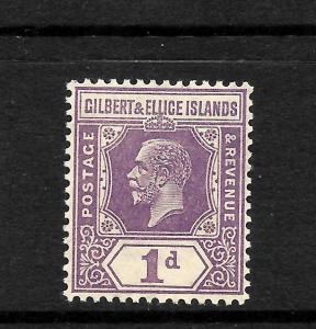 GILBERT & ELLICE IS 1922 1d VIOLET  KGV   MLH  SG 28